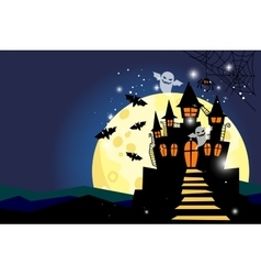 Halloween background with moon and castle vector
