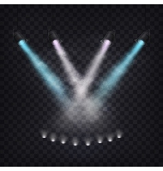 Set of scenic spotlights in fog vector image
