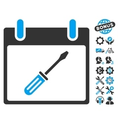 Screwdriver tuning calendar day icon with vector