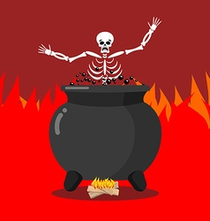 Sinners in cauldron in hell skeletons are cooked vector