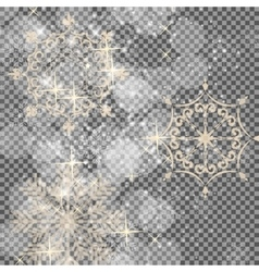 Falling shining snowflakes and snow on transparent vector