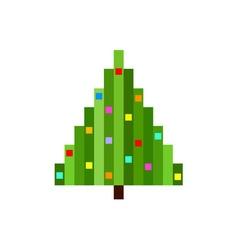 pixel art christmas tree flat vector image