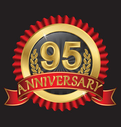 95 years anniversary golden label with ribbons vector