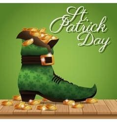Poster st patrick day gold coins boot vector