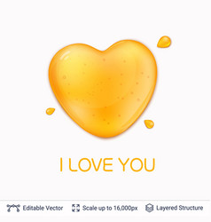 Heart shaped honey drop and text vector