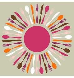Colorful cutlery restaurant mandala vector