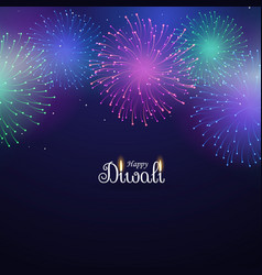 Colorful fireworks display on blue background vector