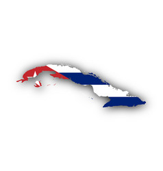 Map and flag of cuba vector