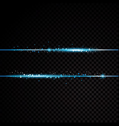 Two blue lines with light effects isolated on vector