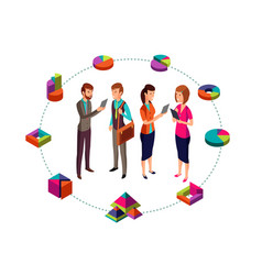 Isometric business analyst modern concept vector