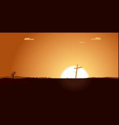 Christian cross inside desert landscape vector