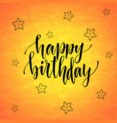Happy birthday modern calligraphy on orange vector