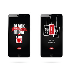 Mobile phone set with black friday on it vector