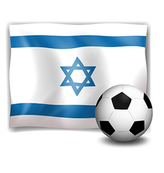 The flag of israel at the back of a soccer ball vector