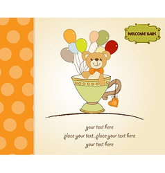 baby shower card with cute teddy bear vector image
