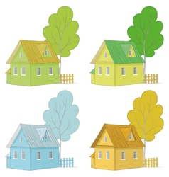 Cartoon colorful houses and trees vector image