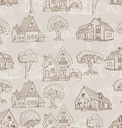 Seamless pattern with many houses and trees hand vector