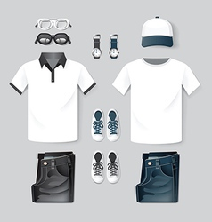 fashion clothing cap t-shirt jean two tone hipster vector image
