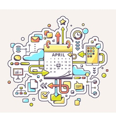 Colorful of business meet date with calendar vector