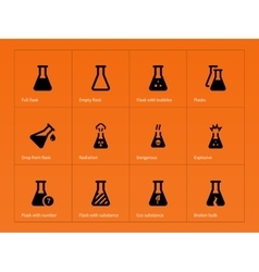 Pharmacy flask icons on orange background vector