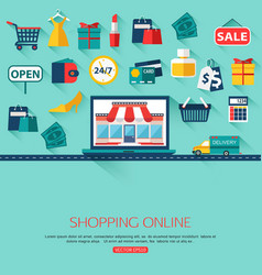 Online shopping concept background with place for vector