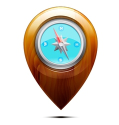 Wooden pointer with a compass vector