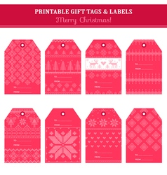 Christmas retro scandinavian set - tags labels vector