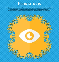 Eye publish content floral flat design on a blue vector
