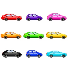 Pixel cars for games icons set vector