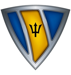 shield with flag barbados vector image