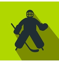 Hockey goalkeeper flat icon vector