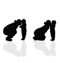 Mom with child silhouette vector