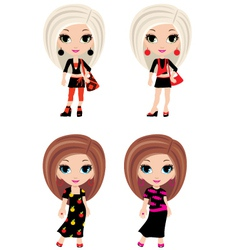 Four girls cartoon vector