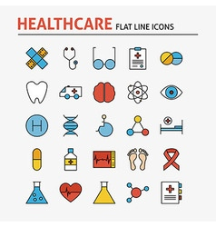 Line health care and medicine colorful flat icons vector