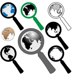 world magnifying glasses vector image