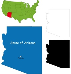 Arizona map vector image vector image