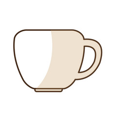 Brown silhouette shading of porcelain cup vector