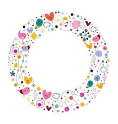 Celebration happy cartoon circle frame vector