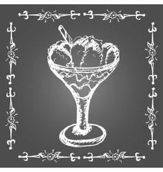 Chalk ice cream in glass with cinnamon stick vector