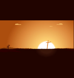 Christian cross inside desert landscape vector