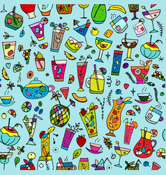Cocktails collection seamless pattern for your vector