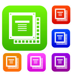 computer cpu processor chip set color collection vector image vector image