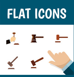 Flat icon hammer set of law tribunal defense and vector