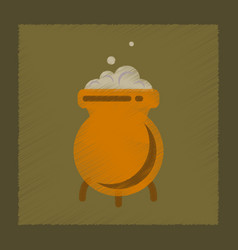 flat shading style icon cauldron witches potion vector image vector image