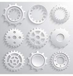 Gear wheels icon set Nine 3d gears on a gray vector image vector image