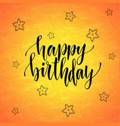 Happy birthday modern calligraphy on orange vector