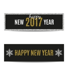 Happy new year 2017 banners golden text and silver vector