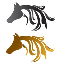 Head horses brown and black vector