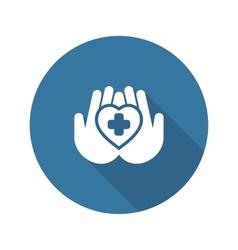 Heart Care Icon Flat Design vector image vector image