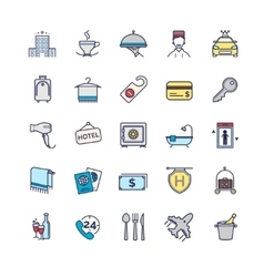 Hotel icons thin line set vector